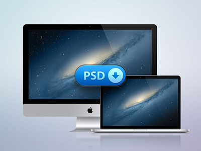 [PSD] iMac + MacBook Retina apple macbook imac pro retina psd photoshop icon icons free freebie vector laptop os x mac