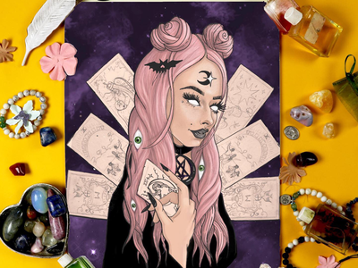 She's a Bad Witch tarot illustration