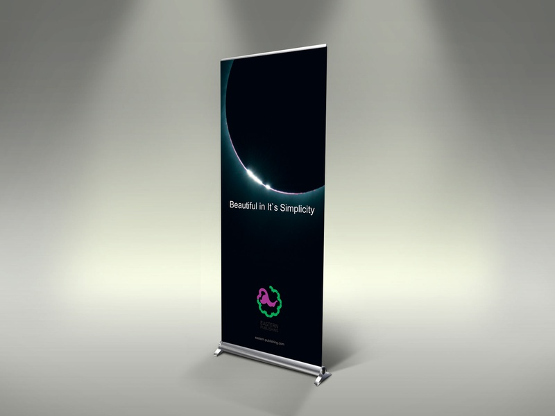 Roll up design for eastern publishing banner creative design graphic design roll up banner
