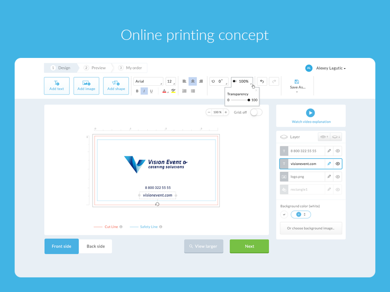 Online printing concept ux ui cards card constructor concept blue printing print