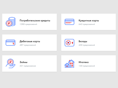 Financial icons money payment bank financial clean red blue icons ui web