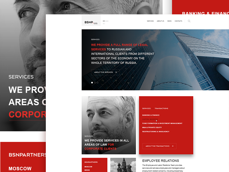 BSNP (WIP)  clear website grid clean red ui web
