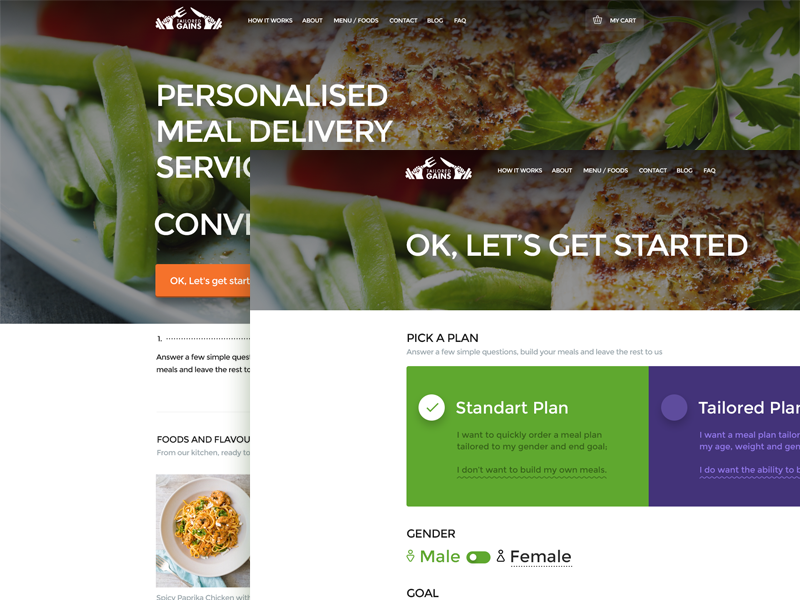 Tailored Gains 2.0 purple green website clean ui web