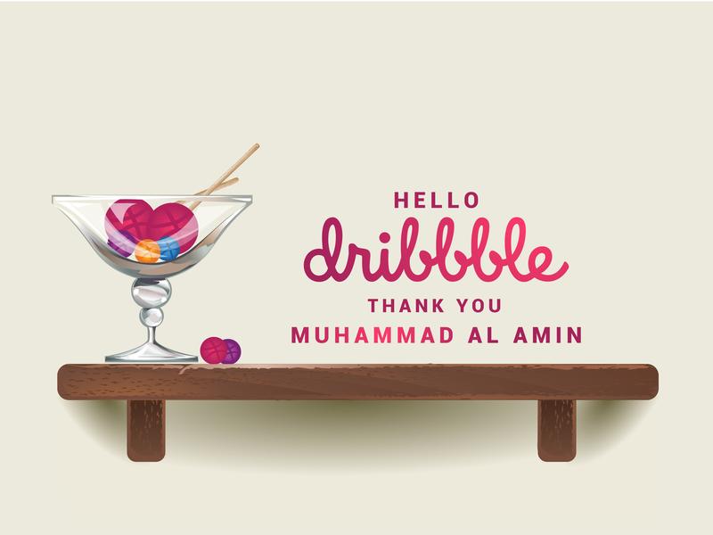 Hello Dribbble 01 lollipops thank you card thanks dribbble glass designer graphicdesign hellodribbble thankyou