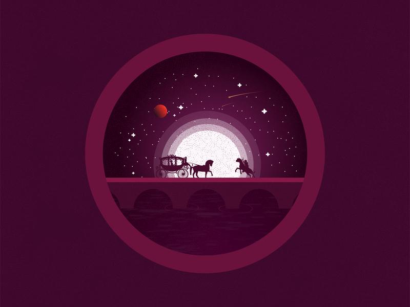 Princess Robbery graphicsdesign graphics night moon purple illustration horse princess