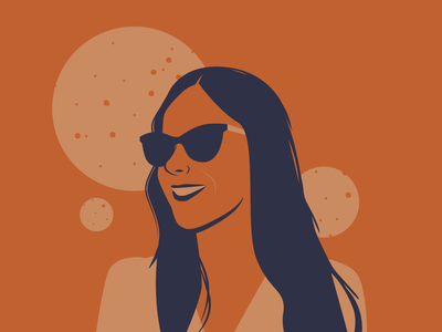 Friends sunglusses girl face blue portrait sky illustrator orange