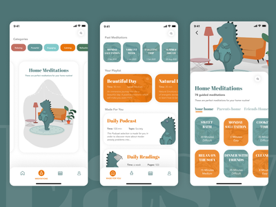 The design restyle of EASY MEDITATION APP ui design mobileapp app illustration design ux ui
