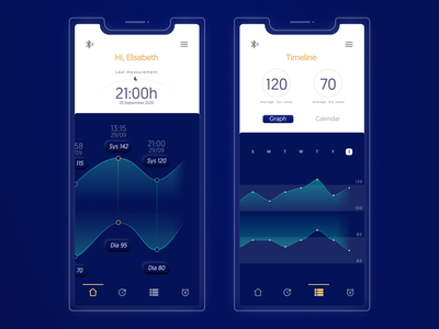 UX/UI Redesign of Blood Pressure Monitor App blood pressure interface graph uxdesign app ui