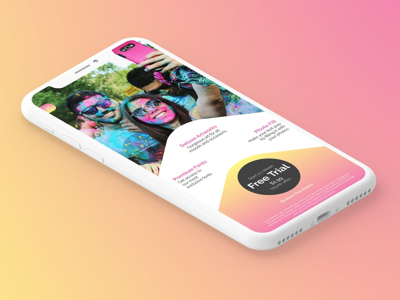Paywall for a photo-editor iOS App paywall payment ui ux design app