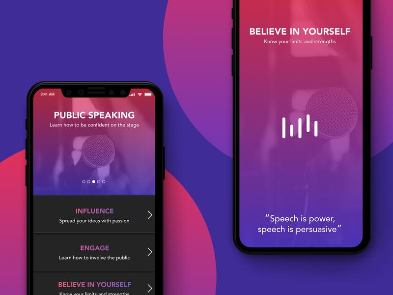 Work related meditations App audio list meditation app public speaking work meditation ui design app