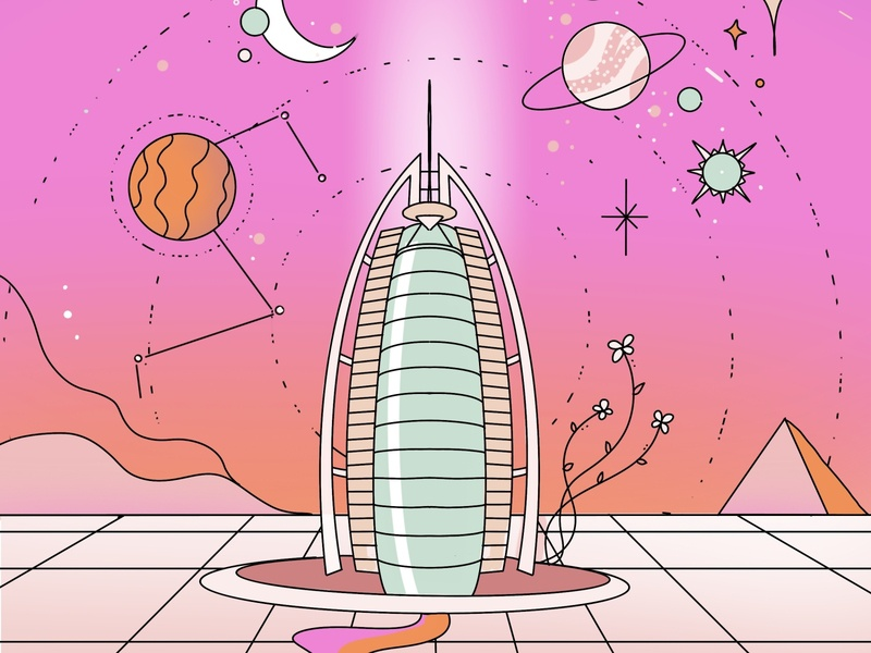 Uae Mars mission digital illustration procreate art illustration