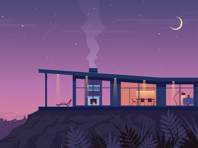 Sweet home cozy outdoor vector illustration morning night architecture illustration