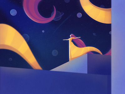Universe procreate fantasy girl illustration planets cosmos space universe