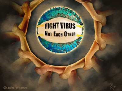 Fight Virus Not Each other unity humanity pandemic epidemic coronavirus virus illustrator illustration art illustration quotes art digital art