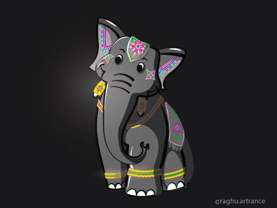 Decorated Indian Elephant illustrator design illustrator art cartoon art characterdesign concept art concept design artist illistration