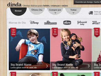 Sign up now for Dinda.com.br! ui ux ecommece kids flash sales dinda