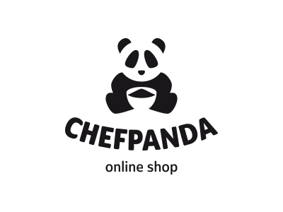 ChefPanda space negative chef animal panda symbol mark logo