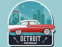 Vintage car logo. Detroit