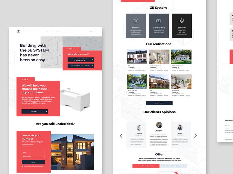 Website propose for 3E System minimalist building grey red designer desk desktop web design ux ui  ux ui sketch