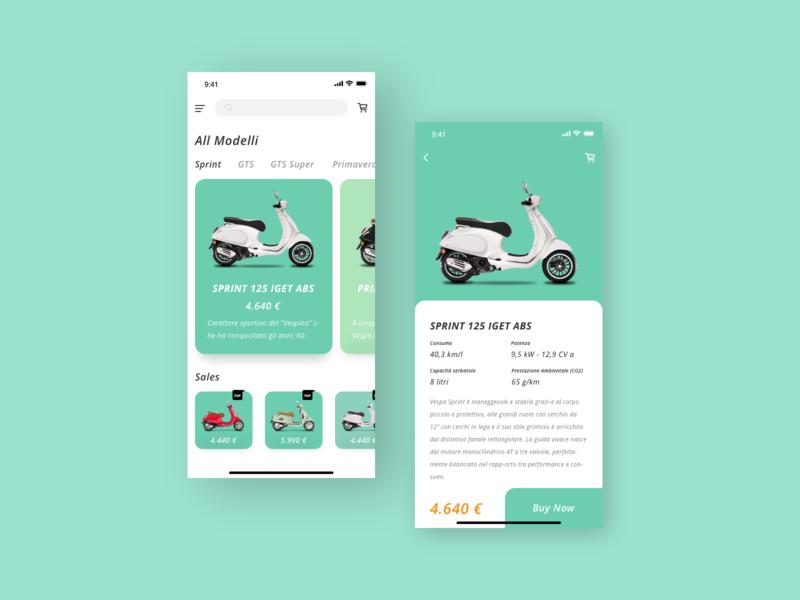 Vespa motorcycle vespa card app ui design