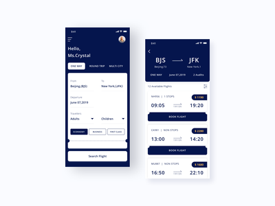 Book Flight flight app flight booking flight search ios app color ui card design