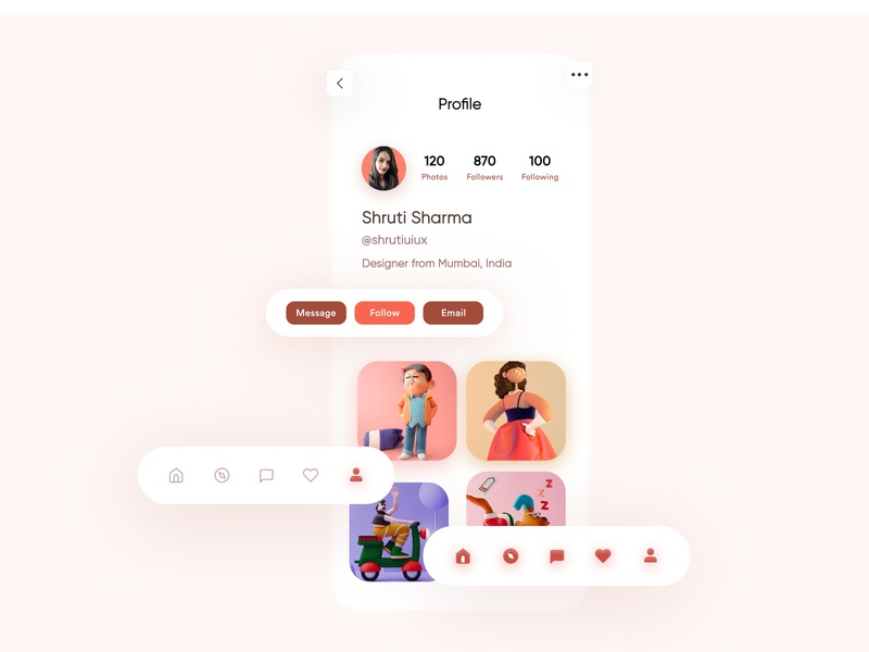 Day 04 Profile screen challenge 10ddc figma app uxdesign mobile design uidesign shrutiuiux dribbble