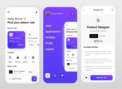 Job Finder App purple ux figma mobile uidesign shrutiuiux dribbble