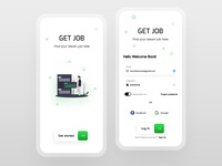 Splash & Login Screen for Job Finder app splash login figma app mobile uidesign dribbble design shrutiuiux