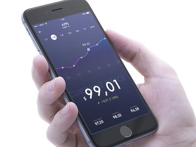 Stock App  design mockup numbers graph iphone ios app stock
