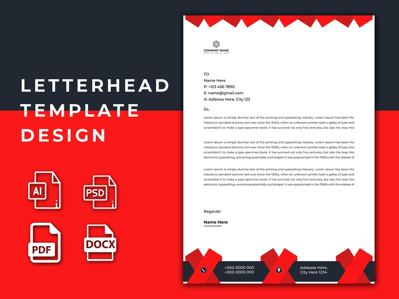 Red Letterhead Design letterhead template ai elegant letterhead template corporate letterhead template green letterhead editable letterhead business letterhead letterhead template business flyer branding professional creative design lettering letterhead printing letterhead design letterhead