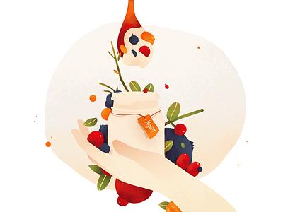 Fruit yogurt vector food sweet yogurt fruit illustrated illustration