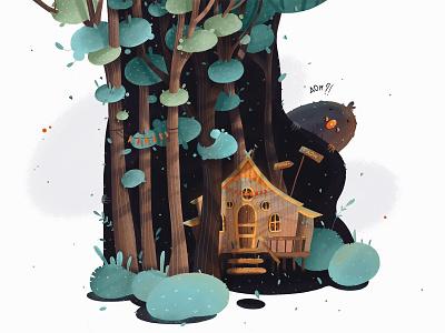 Fairy forest vector fairytail higt children book children art children book illustration book illustration tree monster home forest design illustrated illustrator draw art book art illustration