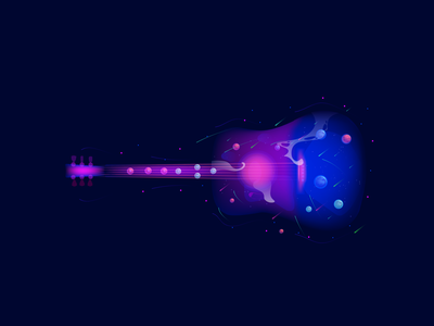 Guitar graphicdesign vector planets space illustrator illustration guitar
