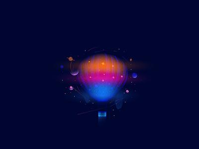 "Illustration ""Hot air balloon"" vector star design illustrator hot blue space graphicdesign illustration balloon ball"