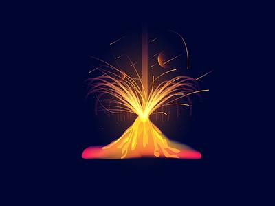 Volcano blick star space graphicdesign vector illustration volcano