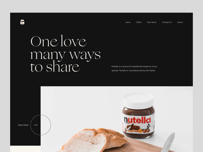 Nutella Website Exploration website design uxdesign ux uiux ui design ui typogaphy minimal landing page design