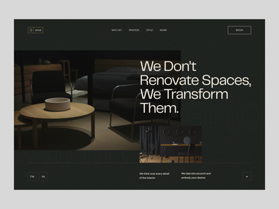 Dark Interior Header uiux design web interiordesign website design landing page minimal uxdesign ui design typogaphy