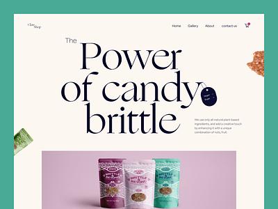 Candy Brittle Website product design ux ui uiux food web minimal website design uxdesign ui design typogaphy landing page design