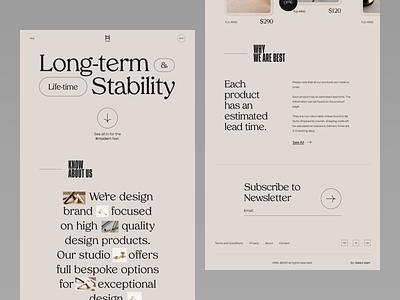 H&W - interior objects Website Concept ux design ux ui interaction design interior web design interiordesign design website minimal product design web ui design typography landing page website design
