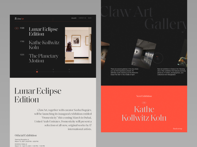 ClawArt - Art Exhibition Website(Gallery Page) historical history typography design art exhibition design ux ui design web uiux typography product design uxdesign ui design minimal website design landing page
