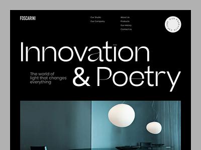 Foscarini - Dark Interior Lighting Website minimalistic light interior ui uiux ux product design typography minimal web uxdesign ui design website design landing page