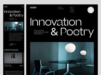 Foscarini - Dark Interior Lighting Mobile Responsive mobile responsive popular shot website animation typography app design mobile modern design visual design responsive minimal design uxdesign uiux website design ui design landing page