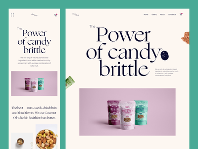 Candy Brittle Website(mobile responsive) motion graphics app design mobile responsive visual design popular shot animation mobile app responsive mobile typography saidul islam food ui minimal design uxdesign uiux website design ui design landing page