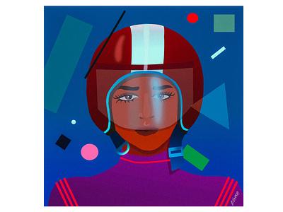 Suprematic Dream girl helmet suprematism vector