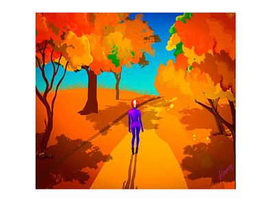 Sunnyday vector colorful girl graphicnovel helmet future walking autumn biker