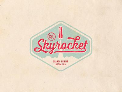 SEO Skyrocket Logo Design badge nameplate vintage script typography rocket