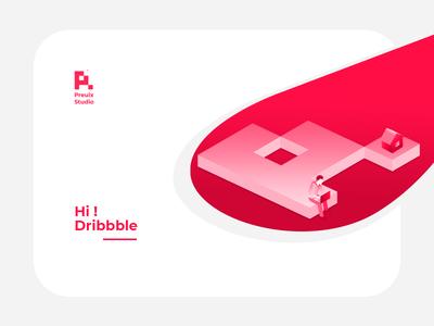 Preuix Studio® | Hello Dribbble ! ui logo website branding illustration flat ux ui  ux design isomatric ui art vector design first design hi dribbble hello dribbble