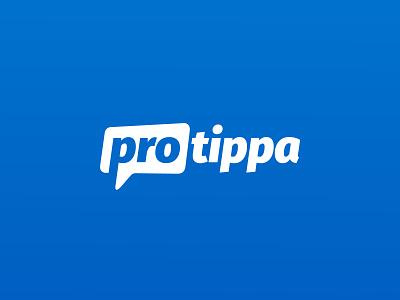 Protippa logo app tipping betting negative space speech bubble logo design logo