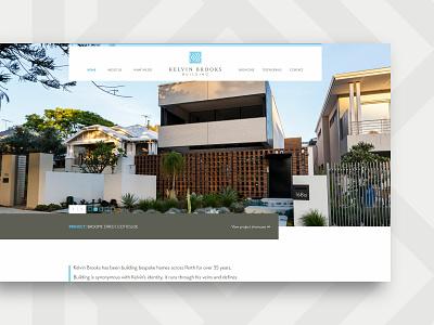 Kelvin Brooks Building – website, home page home builder clean sophisticated ui web design brand identity design