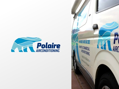 Polaire Airconditioning –logo polar bear cold blue waves wind flowing air animal air-conditioning brand identity design logo design